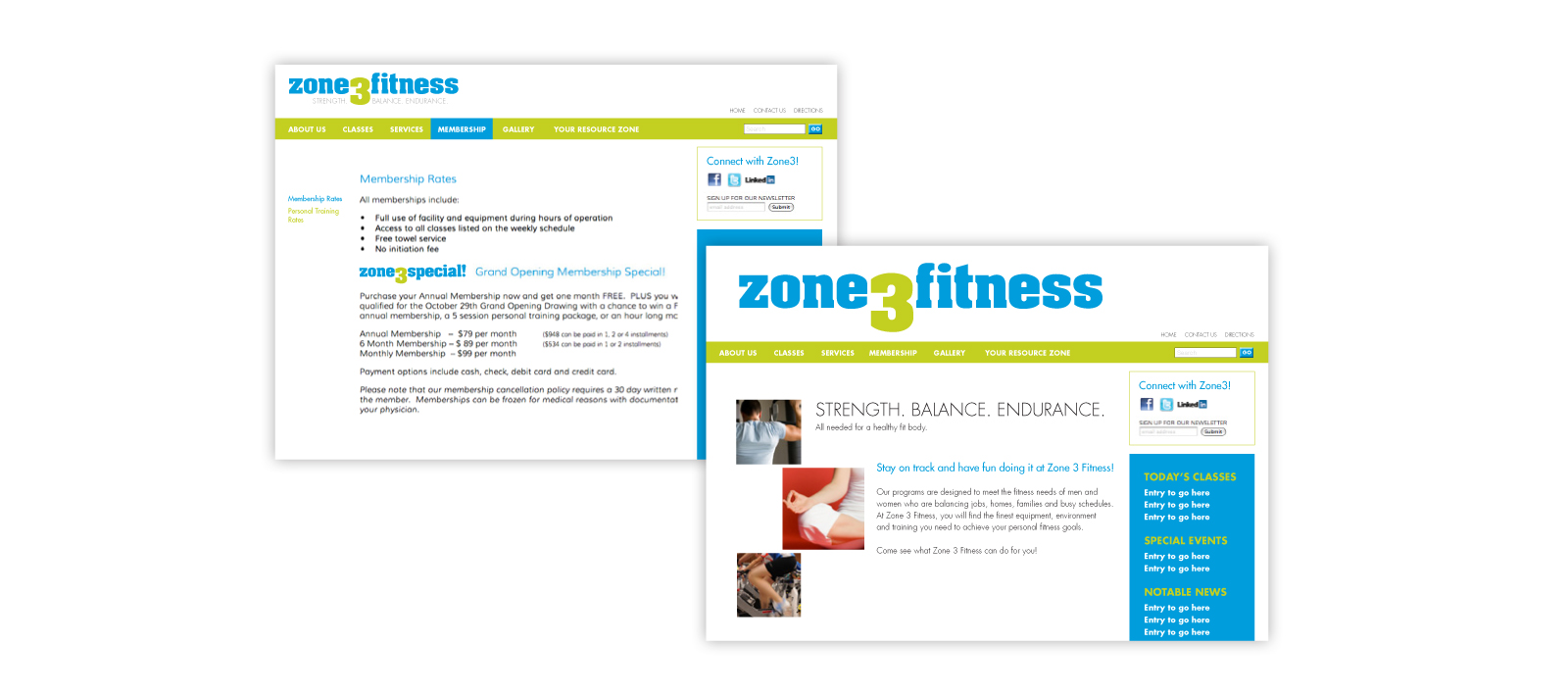 Zone 3 Fitness Website Design